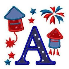 July 4th Fireworks Applique Letters - 4x4 | What's New | Machine Embroidery Designs | SWAKembroidery.com Fun Stitch