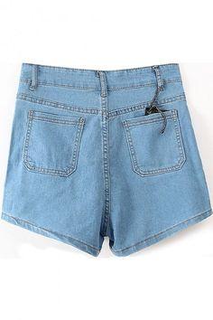 Plain High Waist Zipper Embellish Denim Shorts
