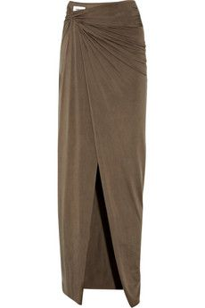 draped brushed-jersey maxi skirt -- this would be cute in a different color.