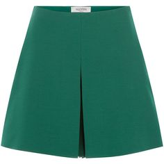 Valentino Wool-Silk A-Line Shorts ($525) ❤ liked on Polyvore featuring shorts, skirts, bottoms, pants, short, green, highwaist shorts, high rise shorts, green high waisted shorts en high-waisted shorts