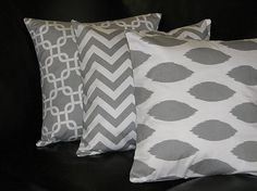 "Beckorama Etsy Shop  Pillows Decorative Pillows TRIO Ikat, chevron, chain link 18x18 inch Throw Pillow Covers gray 18"" storm grey on white Zig Zag"