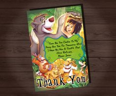 Disney Party Ideas:  Jungle Book Party Birthday Thank You, 2nd Birthday Parties, Birthday Ideas, Printable Invitations, Party Printables, Jungle Book Party, Book Shower, Party Themes For Boys, Party Package