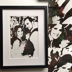 Wedding picture paper cut with acrylic by PapirKlippKompaniet