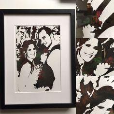 Photo de mariage papier coupé avec un fond de peinture acrylique, format A4 {anniversaire cadeau d'anniversaire de mariage cadeau de la Saint-Valentin Saint-Valentin Noël}