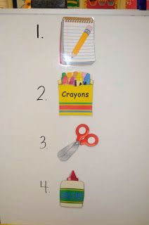 Visual directions for nonreaders or students with limited English vocabulary.
