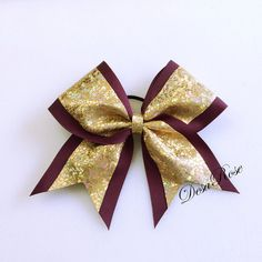 Shattered Glass Maroon and Gold Cheer Bow by DesaRoseBowtique