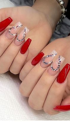 101 Want to see new nail art? These nail designs are really great Picture 69 Nails design; Rhinestone Nails, Bling Nails, Swag Nails, Grunge Nails, Rhinestone Nail Designs, Red Glitter Nails, Cute Red Nails, Glow Nails, Valentine's Day Nail Designs