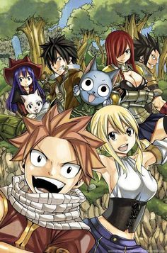 OMG FAIRY TAIL SELFIE! Panther lily is hidden way at the back in between Wendy and Gray!