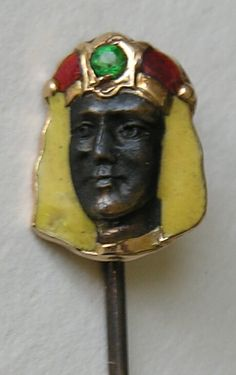 "Egyptian Revival Pharaoh 14k Gold, Enamel And Emerald Stickpin - Marked ""Meyhing And Detroit"""