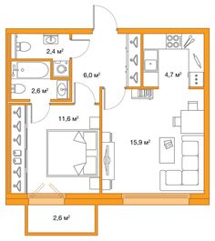 about 465 sqft excluding 'porch' off bdrm. i like thatthere is a half/ guest bath Small Rustic House, Small Tiny House, Small House Floor Plans, Cabin Floor Plans, 4 Bedroom House Designs, Apartment Floor Plans, Apartment Layout, House Layouts, Small Apartments
