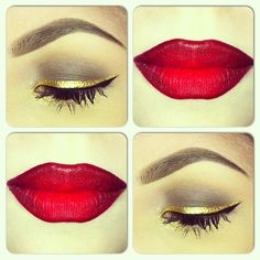 Ruby Woo and Gold Liner. Snow White inspired, I wanna do something like this for Halloween!