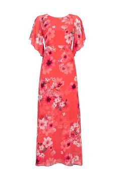 Wallis - Petite Coral Floral Maxi Dress - 2017