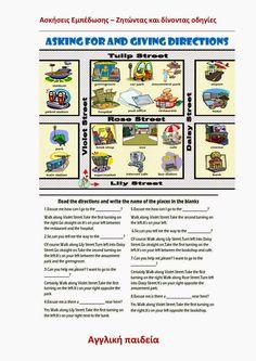 Αγγλική Παιδεία : Πως να δώσεις οδηγίες στα αγγλικά Rose Street, Names, English, Writing, Reading, Blog, Learn English, Reading Books, Blogging