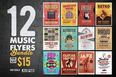12 Indie Music Flyers Bundle by Guuver on @creativemarket
