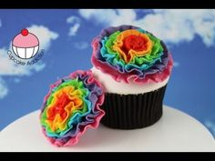 Rainbow Ruffle Flowers! Make from Edible Chocolate or Fondant - Learn how to make these using our FREE online video tutorials. Visit YouTube channel MyCupcakeAddiction for these and lots more cupcake and cakepop decorating tutorials!