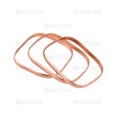 3 aros de pulsera forma especial en acero rosado inoxidable -SSBTG924409