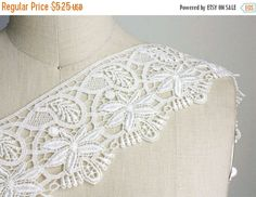 SALE Large Floral Ivory Venice Lace  Victorian by CraftCabaret