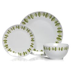 Wilko Dinner Set Sustain Leaf Olive Green/White 12 Pieces at wilko.com