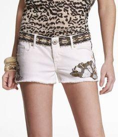 express 2 1/2 embellished denim shorts