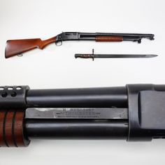 Winchester Trench Shotgun - Our GOTD comes from the conflict now nearing the century mark, WWI. Winchester's Model 1897 pump-action shotgun offered a five-round tubular magazine and for military purposes, a ventilated metal handguard was fitted to protect hands from hot barrels as well as offering a mounting fixture for a bayonet. This 12 gauge trench shotgun was pressed into service for guard duty with its short 20-inch barrel. At the NRA National Firearms Museum in Fairfax, VA.