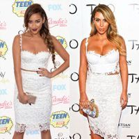 Bitch Stole My Look! Shay Mitchell Steals Kim Kardashian's White Lace Crop Top Style