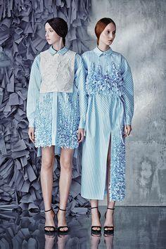 Embellished Striped Cotton Dress by Ruban Foto Fashion, Fashion Art, Editorial Fashion, Runway Fashion, High Fashion, Fashion Show, Womens Fashion, Fashion Design, Haute Couture Style