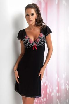Donna Black & Red Lace Trim Cap Sleeve Babydoll