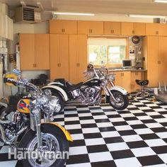 A Dream Motorcycle Workshop: A bike enthusiast's tailor-made work space Get the tutorial: http://www.familyhandyman.com/garage/a-dream-motorcycle-workshop #DIY #garage