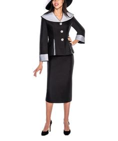 Look what I found on #zulily! Black & White Wide-Collar Suit - Plus Too #zulilyfinds