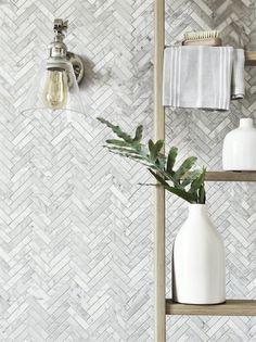 Kennet Carrara Marble Herringbone Tiles Floor | Neptune
