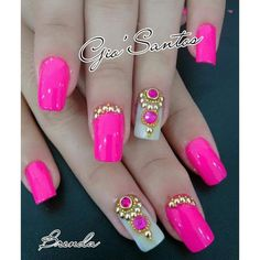 Pink decorated nails