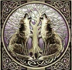 white wolves celtic wolves baying at a full moon behind the celtic tree of life i like. Black Bedroom Furniture Sets. Home Design Ideas