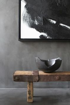 black and white abstract artwork, grey walls, broken bowl on a raw timber bench | #wabisabi
