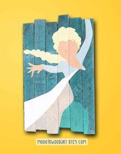 Elsa painted wood sign / Disney / Princess / Elsa by MookieWoodArt