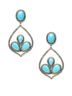 Turquoise & Pave Diamond Pointed Teardrop Earrings by J/Hadley on Gilt.com