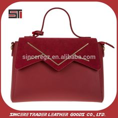 9b3c1c29922e China Factory Wholesale Smooth Red PU Leather Tote Bag Women Handbags  16SH-5549D