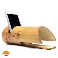 Bamboo Amplifier $38.00 Amplified, naturally. Made entirely by hand from 100% organically treated bamboo, the Bamboo Amplifier boosts the sound on your smartphone without wires or batteries. Using the natural qualities of bamboo, it's not a speaker but a delightfully different, and incredibly effective natural passive amplifier. Each is handmade from natural materials and there are no power tools involved, so exact sizes will vary some. #bamboo #speaker #FathersDay #bambecoChic