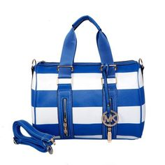 Michael Kors Grayson Striped Large Satchel Navy Blue