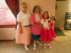Here I am, center, with my BFF and my 6-year old granddaughter....ready for Relay for Life...our team theme (you guessed it) was 1950's!  I got plain white tennis shoes for Hannah and myself and painted them (mine black, hers pink) to look like saddle oxfords.  I made Hannah's skirt (and her AG doll's).
