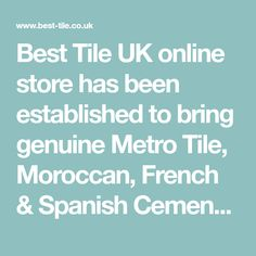 Best Tile UK online store has been established to bring genuine Metro Tile, Moroccan, French & Spanish Cement and Encaustic handmade tiles to the forefront of interior design. Tiles from Morocco, France, Spain & Metro Tiles are well known not only for their simplicity but their versatility and flair for colour. As they are wood-fired, there are natural variations in colour in each batch, making every tile unique. Tiles Uk, Handmade Tiles, Handmade Ceramic, Metro Tiles, Uk Online, Terracotta, Moroccan, Cement, Bring It On