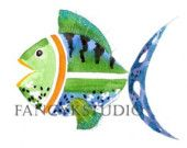 554 FISH  5x7 Limited Edition Art Print GREAT FOR BEACH HOUSE OR KIDS ROOM OR BATH