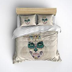 Lightweight Dia de los Muertos Sugar Skull Bedding  by InkandRags