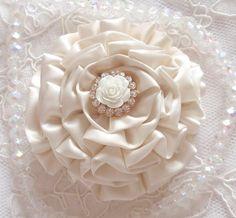 Handmade Ribbon Flower With Rhinestone Rose Button  by Mydesign63