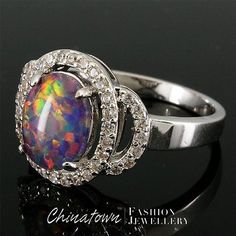 327ccd87e743e Blue Opal and Crystal Ring - Opal Jewelry - Blue Rainbow Opal Ring ...