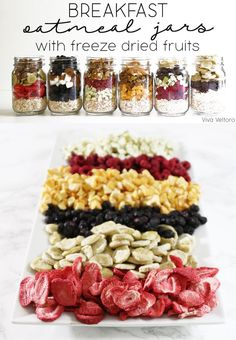Simplify breakfasts with make-ahead oatmeal jars using freeze dried fruit!