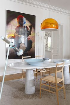 Sandra Benhamou,modern interiors,interior design,Benhamou. Modern dining rooms are easy to get. Find the perfect chandelier, a modern foot lamp, some patterned details and beautiful chairs. See more home design ideas at http://www.homedesignideas.eu/ #contemporary #interiordesign
