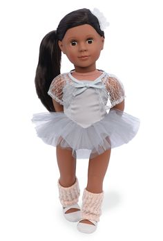 Step into the spotlight with Nia, the ballet doll from Our Generation! She wears a beautiful ballet tutu dress, lace capelet, leg warmers, and ballet shoes. Blue Ballet Shoes, Ballet Tutu, Ballerina, Straight Black Hair, Knit Leg Warmers, Journey Girls, Our Generation Dolls, Ballet Beautiful, Girls Accessories
