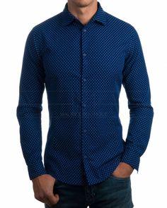 Camisas Armani Topitos - Azul