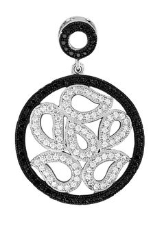 Dizeo 18K white gold over sterling silver pendant with simulated black and white diamonds. $120.00