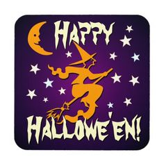 Happy Halloween! Orange Witch on Broom with Moon Drink Coaster